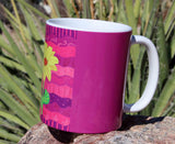 Buy purple pink flower cocoa mugs at Raspberry Lane Crafts.  For Sale