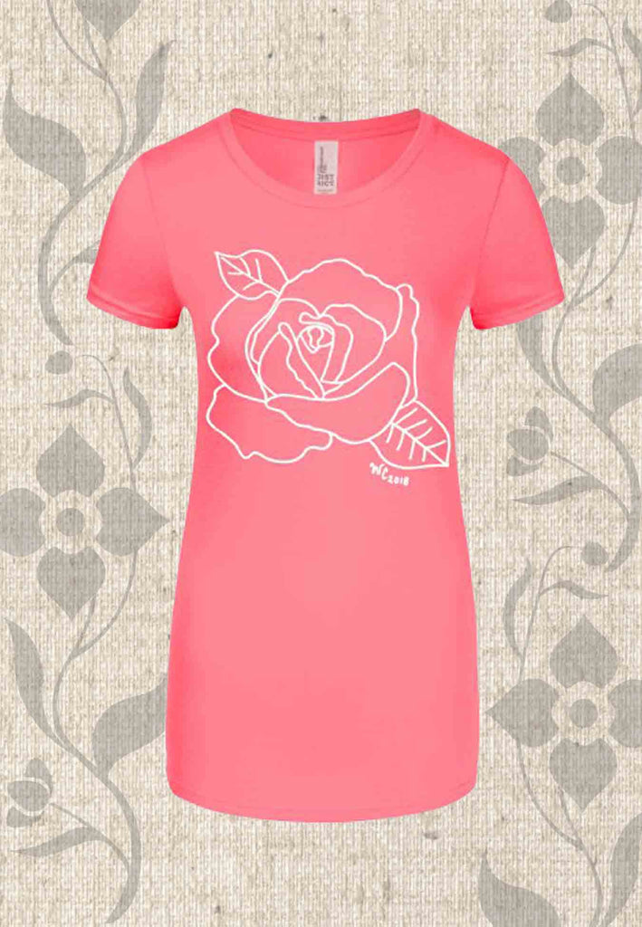 Pink scoop neck cap sleeve t-shirt with rose flower for sale at Raspberry Lane Crafts