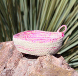 Original pink artisanal mini basket for sale at Raspberry Lane Crafts