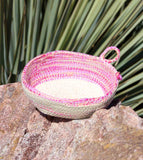 Artisanal Pink-Side Oval Mini Basket