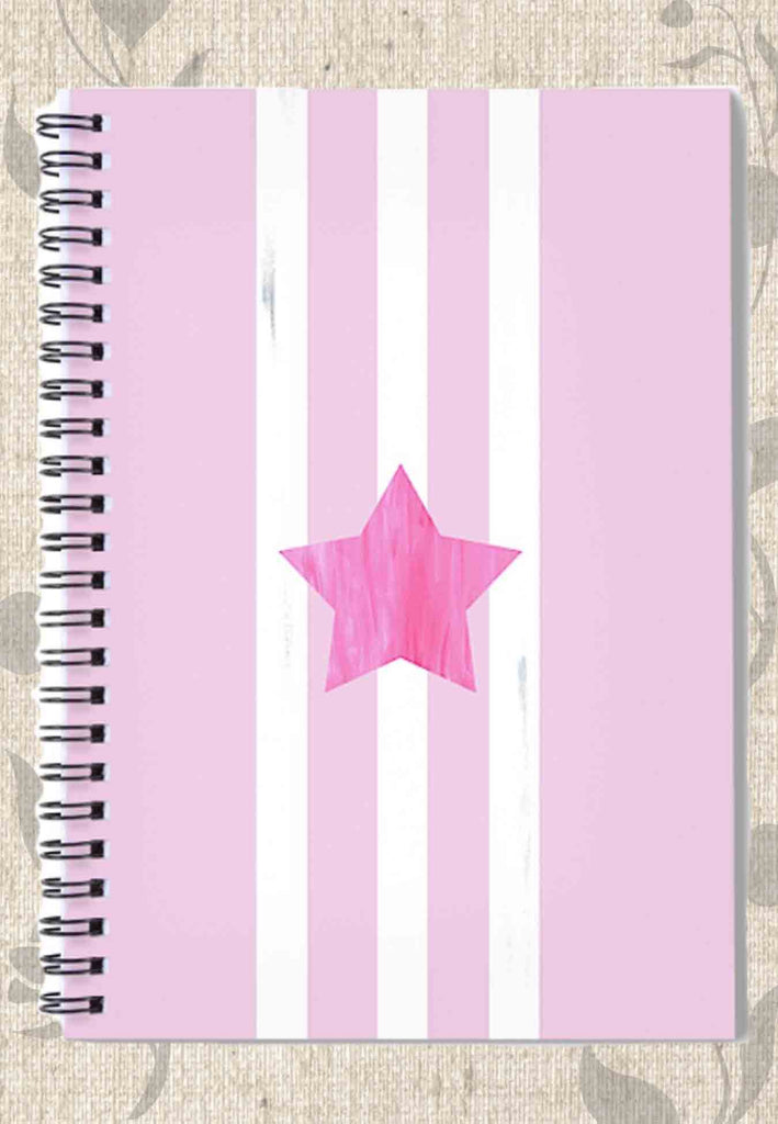 Buy Pink Star Spiral Notebook with three white stripes, a bubblegum pink star, on pastel pink.  Buy Purchase Find at Raspberry Lane Crafts