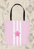 Pink Star Tote Bag with White Stripes for Sale Buy Purchase Find at Raspberry Lane Crafts