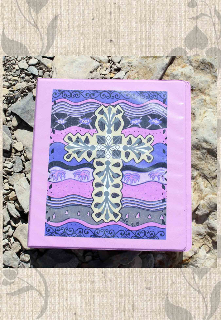 Buy Purple Cross 3-Ring Binder with Art Print Plum Cross by Wendy Christine.  Find Purchase.