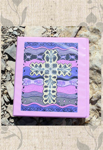Plum Cross Three-Ring Binder