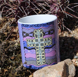 Southwest Cross on Purple Mug for Sale at Raspberry Lane Home Collection. The Art of Wendy Christine