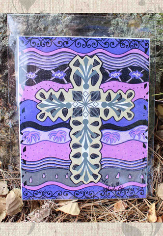 Plum Cross Signed Print