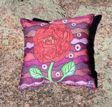 Red Rose Plum Wine Throw Pillow for Sale at Raspberry Lane Crafts