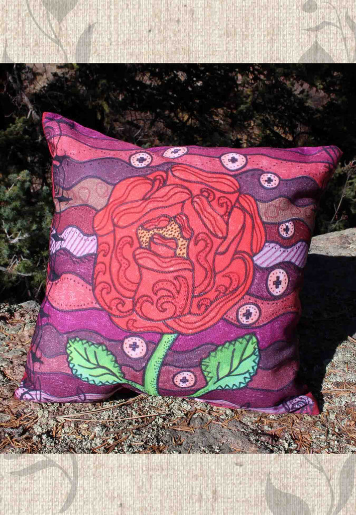 Red Rose on Burgundy Decorative Throw Pillows for Sale at Raspberry Lane Crafts.
