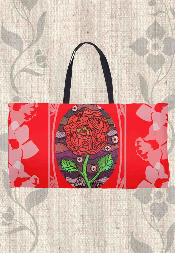 Red Rose Weekender Bags for Sale from The Art of Wendy Christine called Plum Wine Red Weekenders