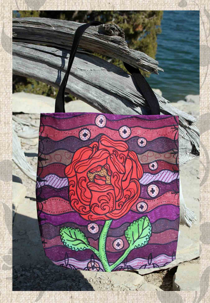 Plum Wine Tote Bag features a Southwest red rose with green stem on burgundy red and purple.  For sale.  The Art of Wendy Christine.
