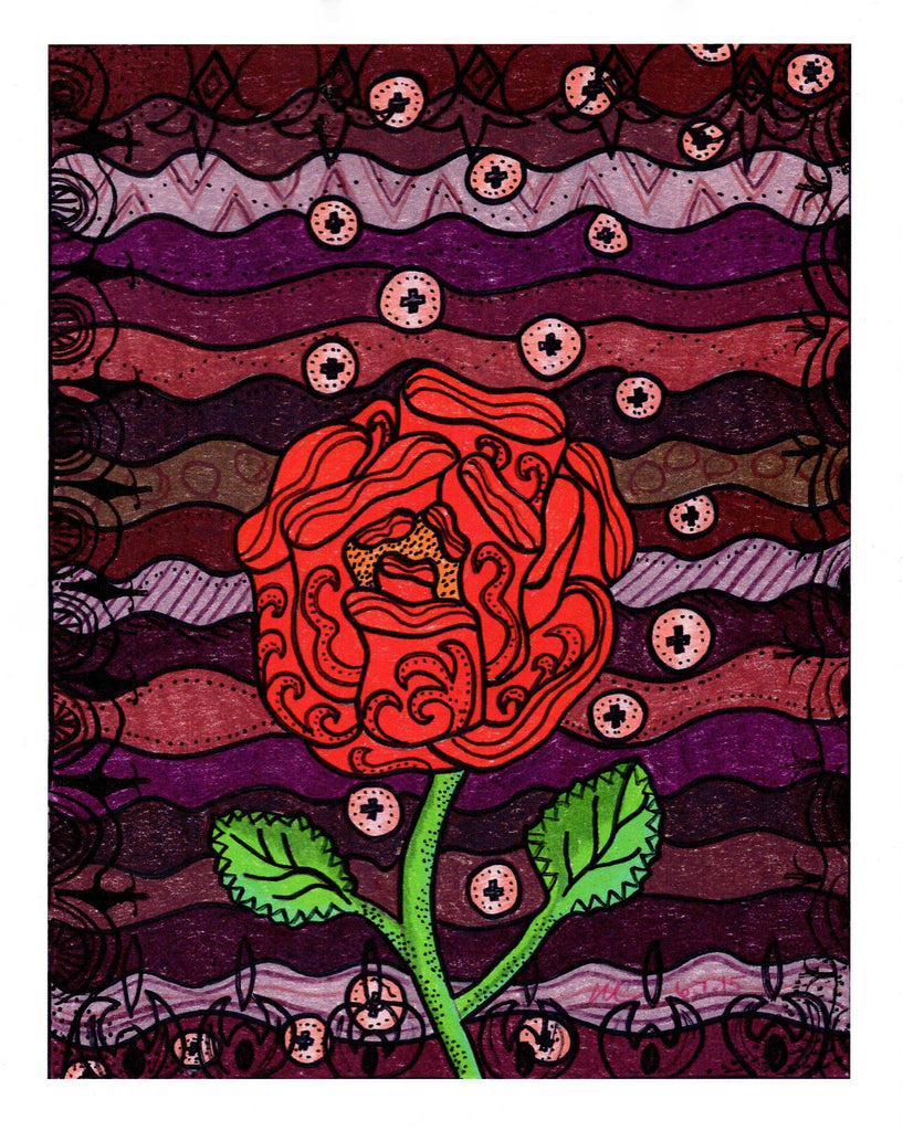 """Plum Wine"" Print by Wendy Christine is a Southwest red rose with a background of pink bubbles and burgundy and wine waves."