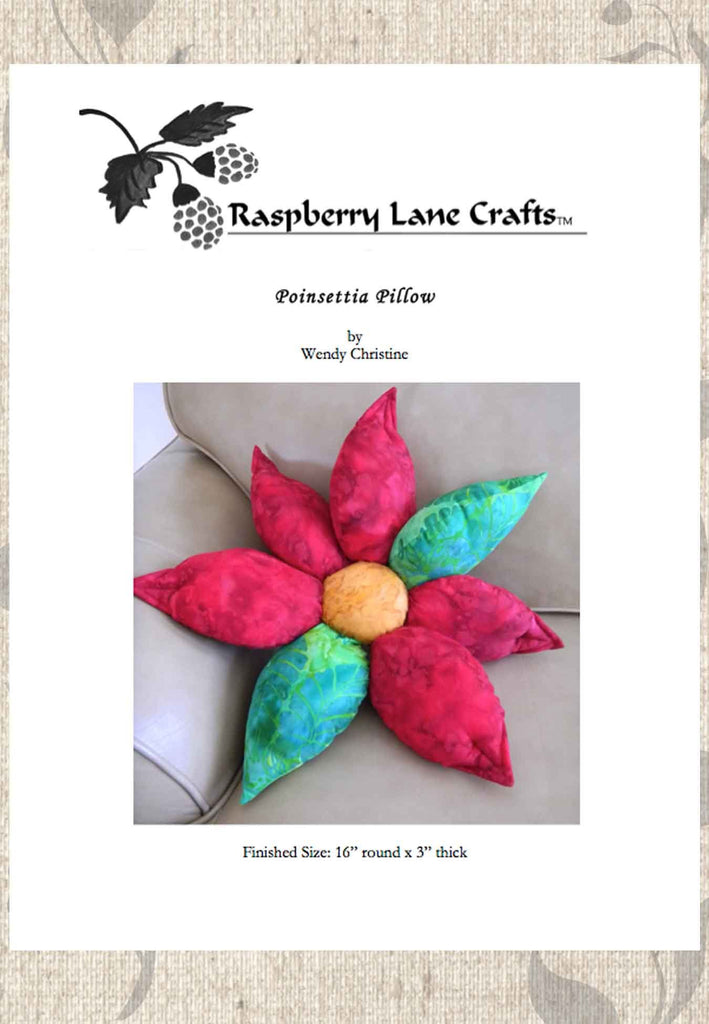 Red Poinsettia Pillow Pattern Download for Sale at Raspberry Lane Crafts No Shipping on Downloads