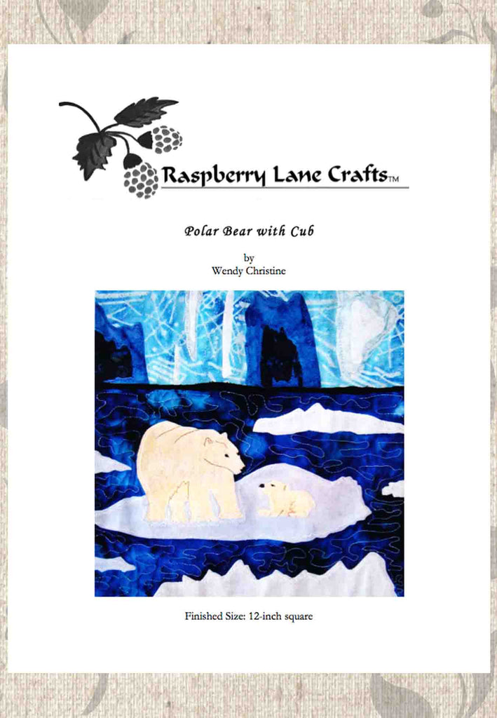 Polar Bear with Cub digital download cover page for quilt block pattern features two polar bears on an ice floe with icebergs in the background.  Raspberry Lane Crafts on sale.