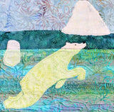 Buy Polar Bear Swimming quilt block shows a mostly submerged polar bear ocean-swimming near icebergs. Ice Habitats Quilt Collection. Raspberry Lane Crafts. Wendy Christine