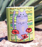 Yellow Cat Mug Poppy Cat by Wendy Christine for sale at Raspberry Lane Crafts