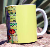 Yellow cat coffee mug for sale featuring a gray cat.  Find Buy Purchase at Raspberry Lane Crafts