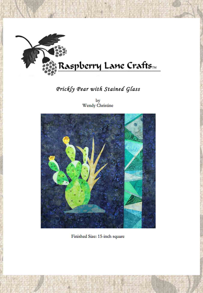 Prickly Pear Cactus quilt block pattern download for sale at Raspberry Lane Crafts