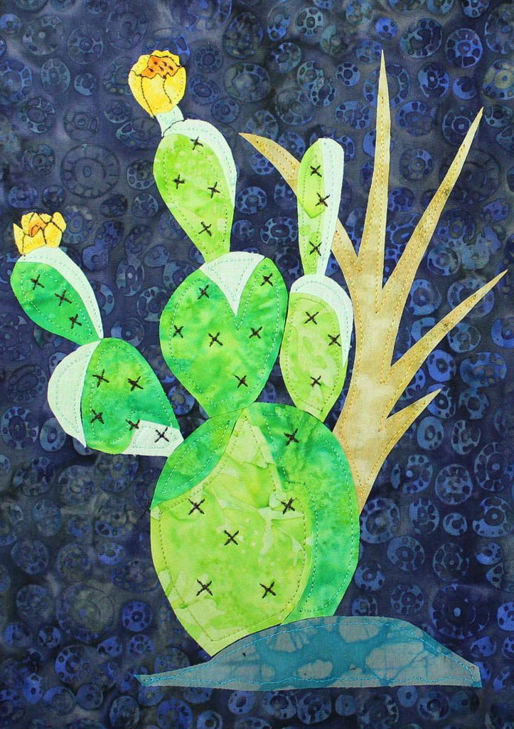 Prickly Pear with Stained Glass Quilt Block Pattern