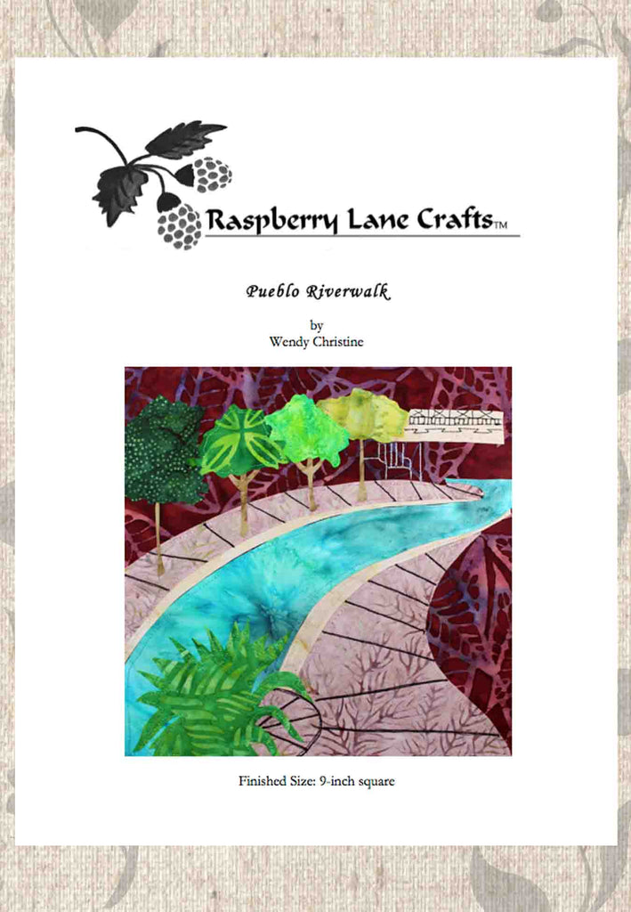 Pueblo Riverwalk quilt block pattern digital download front page depicts a gorgeous glowing turquoise river with pink sidewalks, and bright green trees and a plant on a brick red background.  Available for purchase to buy at Raspberry Lane Crafts.