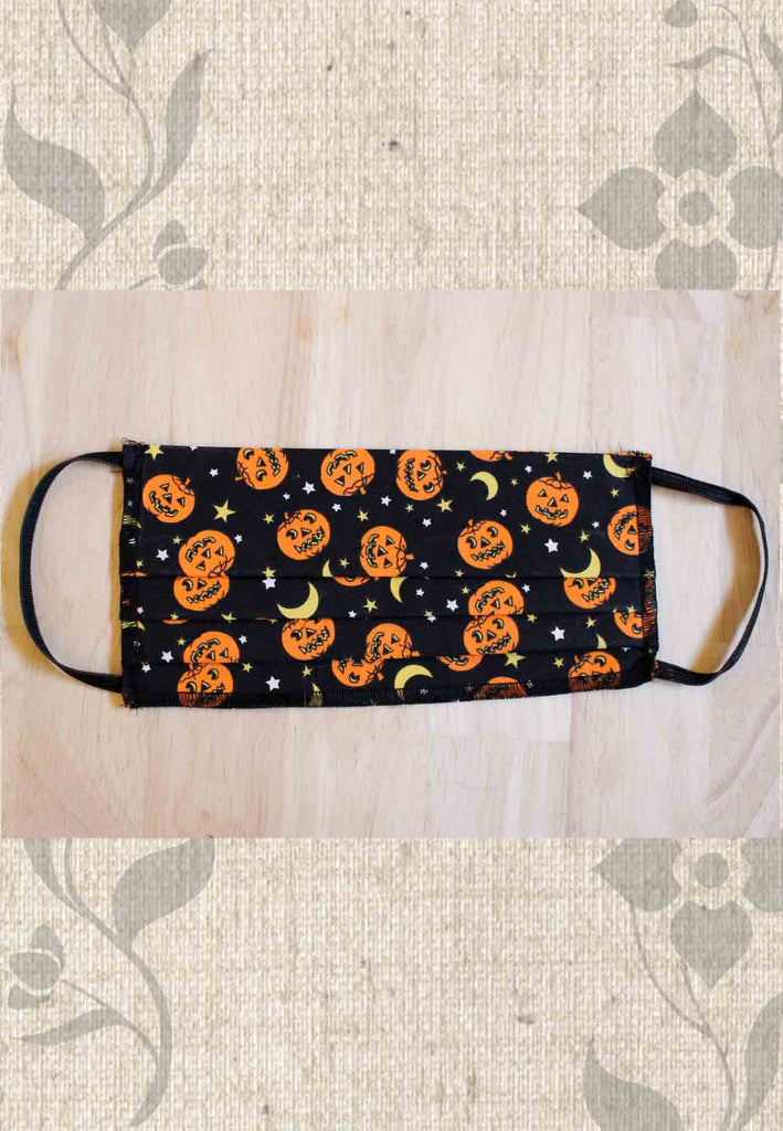 Halloween Pumpkins and Moons Fabric Face Mask Cover for Sale at Raspberry Lane Crafts