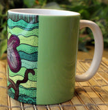 Purchase Purple Flower on Green Mug