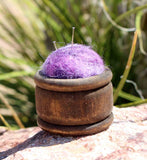Purple Wool Pin Cushions for sale at Raspberry Lane Crafts