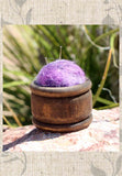 Wool Pin Cushion Puffs Purple for embroidery and sewing for sale at Raspberry Lane Crafts