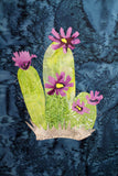Purple Cactus with Stained Glass Quilt Block Digital Download