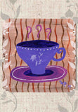 Purple Tea Cup Drink Coasters Set of Six 6 for Sale at Raspberry Lane Crafts