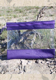 Purple Ultra See-N-Side bag is purple and clear.  Made of vinyl and heavy-wight nylon