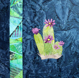 Purple Flower Cactus with Stained Glass Quilt Block Pattern for Sale