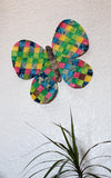 Rainbow Butterfly sewing pattern is a raw-edge decoration to hang on the wall or use as a base for a Spring flower base.