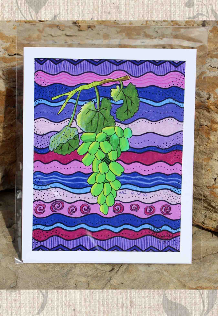 Raisins Verte 8 x 10 inches Art Print Green Grapes Purple Print for Sale at Raspberry Lane Crafts