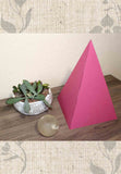 Large raspberry red paper pyramid for sale at Raspberry Lane Crafts Pyramid Power! Sacred Geometry Now.