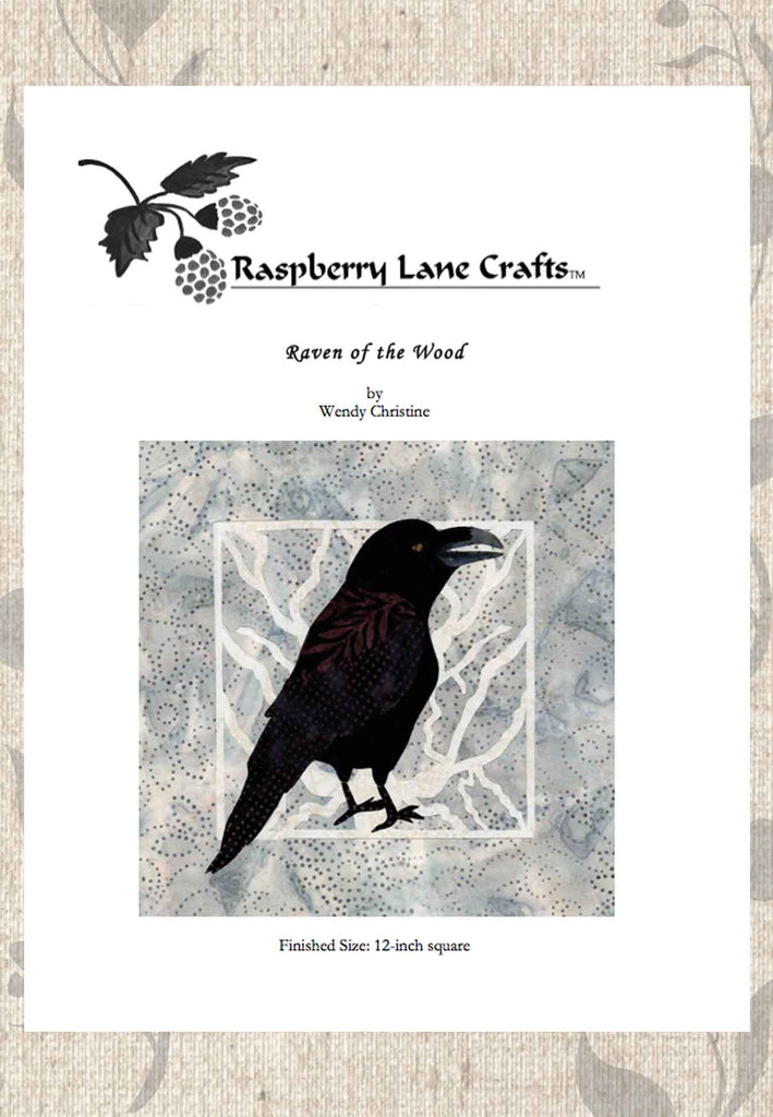 Black bird crow raven quilt block pattern 12 inches black and white for sale download at Raspberry Lane Crafts