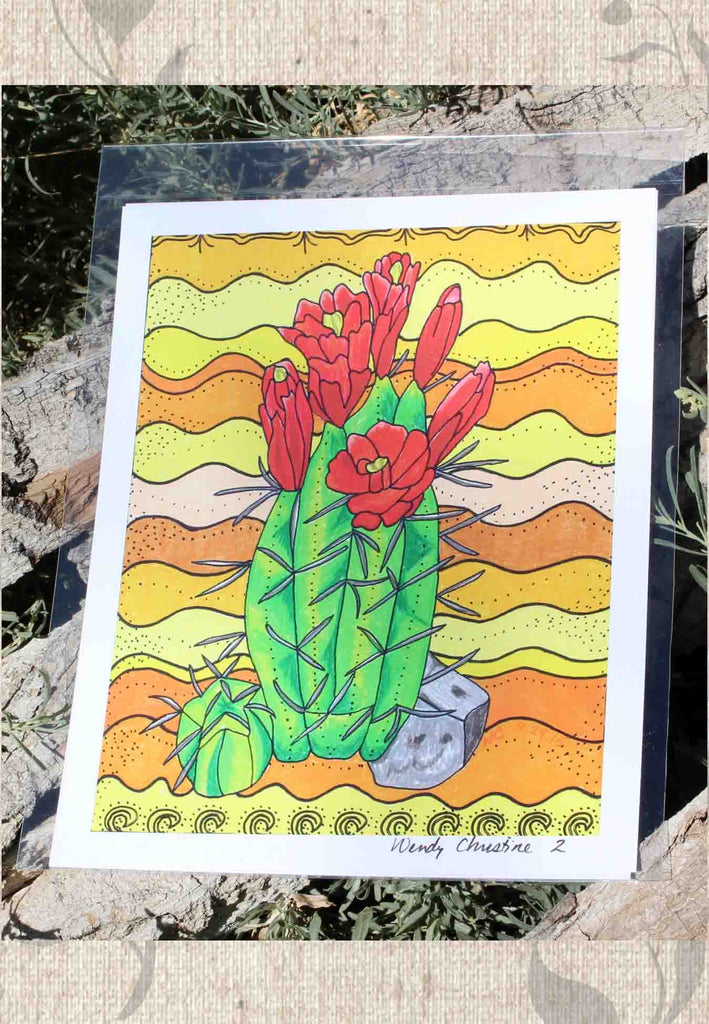 Red Cactus Art Print for sale at Raspberry Lane Crafts.  The Art of Wendy Christine.