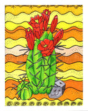Southwest Yellow Art Print Red Claret Cactus by Wendy Christine 2015. Buy For Sale