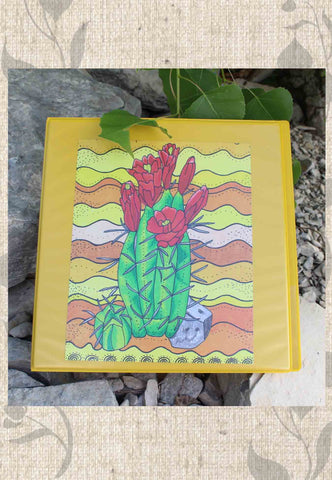 Red Claret Cactus Yellow Three-Ring Binder
