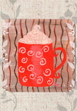 Red Cocoa Mug with Whipped Cream Drink Coasters Set of 6 for Sale at Raspberry Lane Crafts