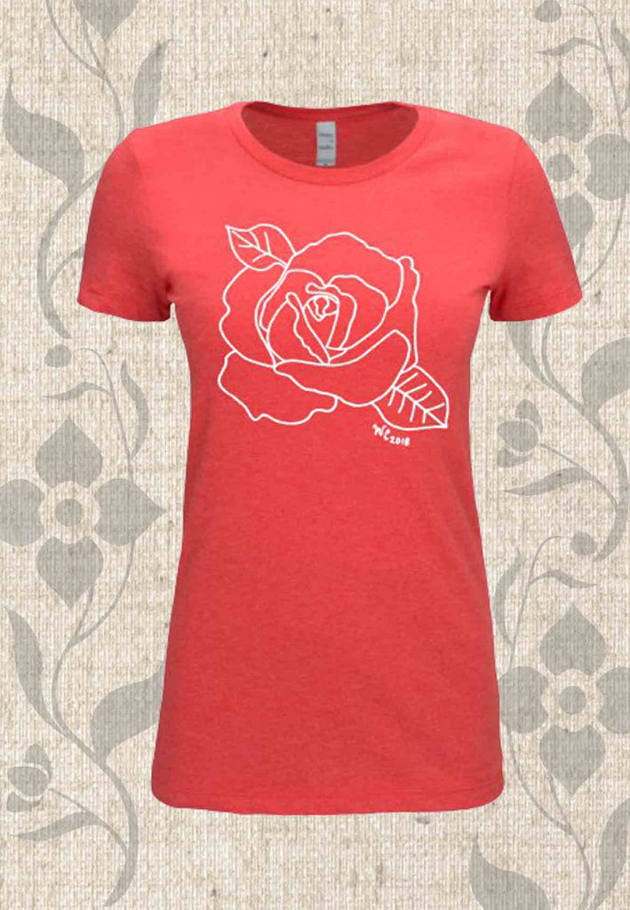 Red t-shirt with rose flower for sale at Raspberry Lane Crafts