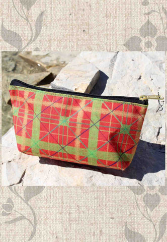 Red Plaid Accessory Pouches
