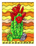 Red Claret Cactus Artwork