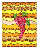 Pink grapes on yellow waves art print by The Art of Wendy Christine