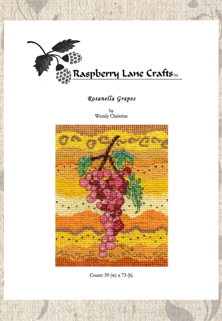 Buy grapes cross stitch pattern at Raspberry Lane Crafts