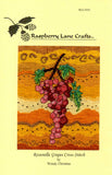 Front cover of Rosanella Grapes pink grapes, green leaves with golden background cross stitch pattern by Raspberry Lane Crafts.