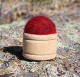 Wool Pin Cushion Puffs - Rose Red