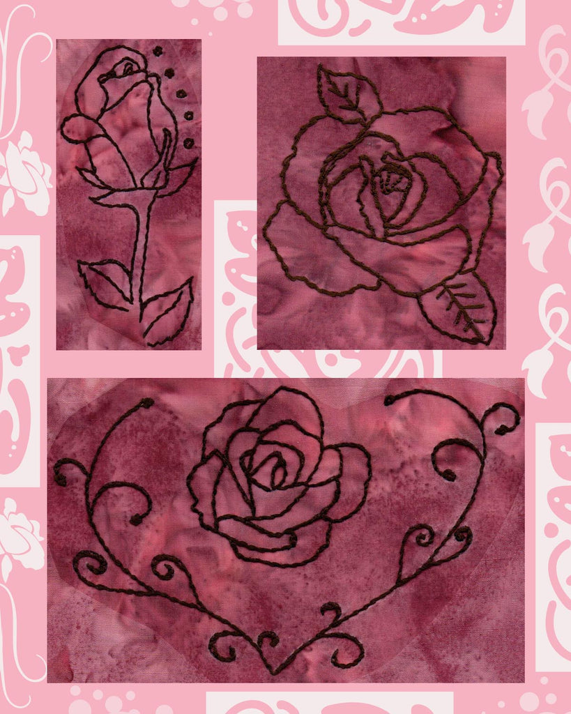 Heart Rose, Open Rose, and Bubble Rose are three embroidery designs in Rose Blooms at www.raspberrylanecrafts.com