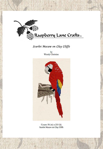 Scarlet Macaw on Clay Cliffs Cross Stitch Pattern Download