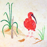 Scarlet Ibis on Beach with Grasses quilt block pattern for sale.  Seaside Habitats Collection