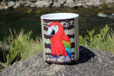 Scarlet Macaw Art Coffee Cup for Sale at Raspberry Lane Crafts The Art of Wendy Christine